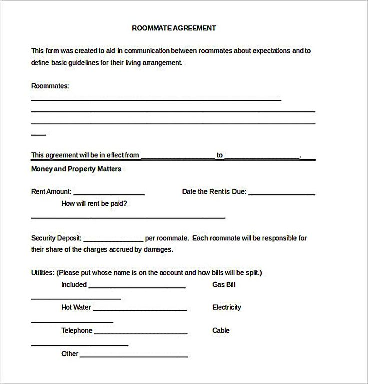 Roommate Contracts Template the 25 Best Roommate Agreement Ideas