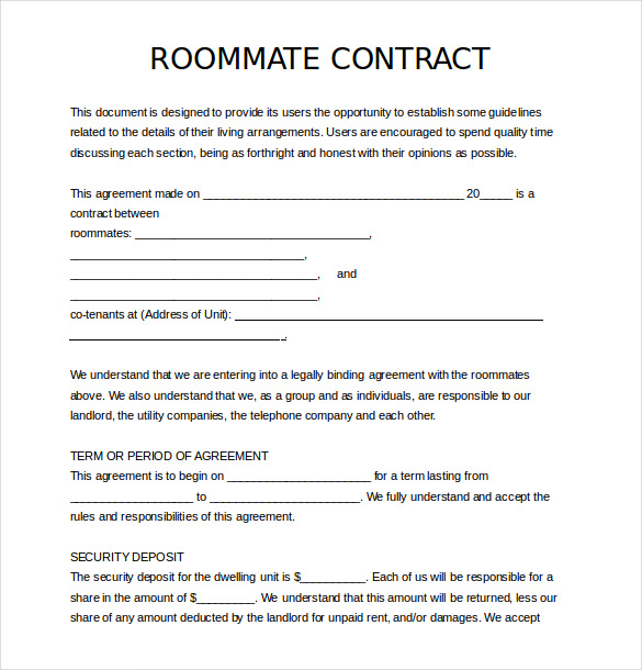 roomate agreement template roommate contract template 12 roommate