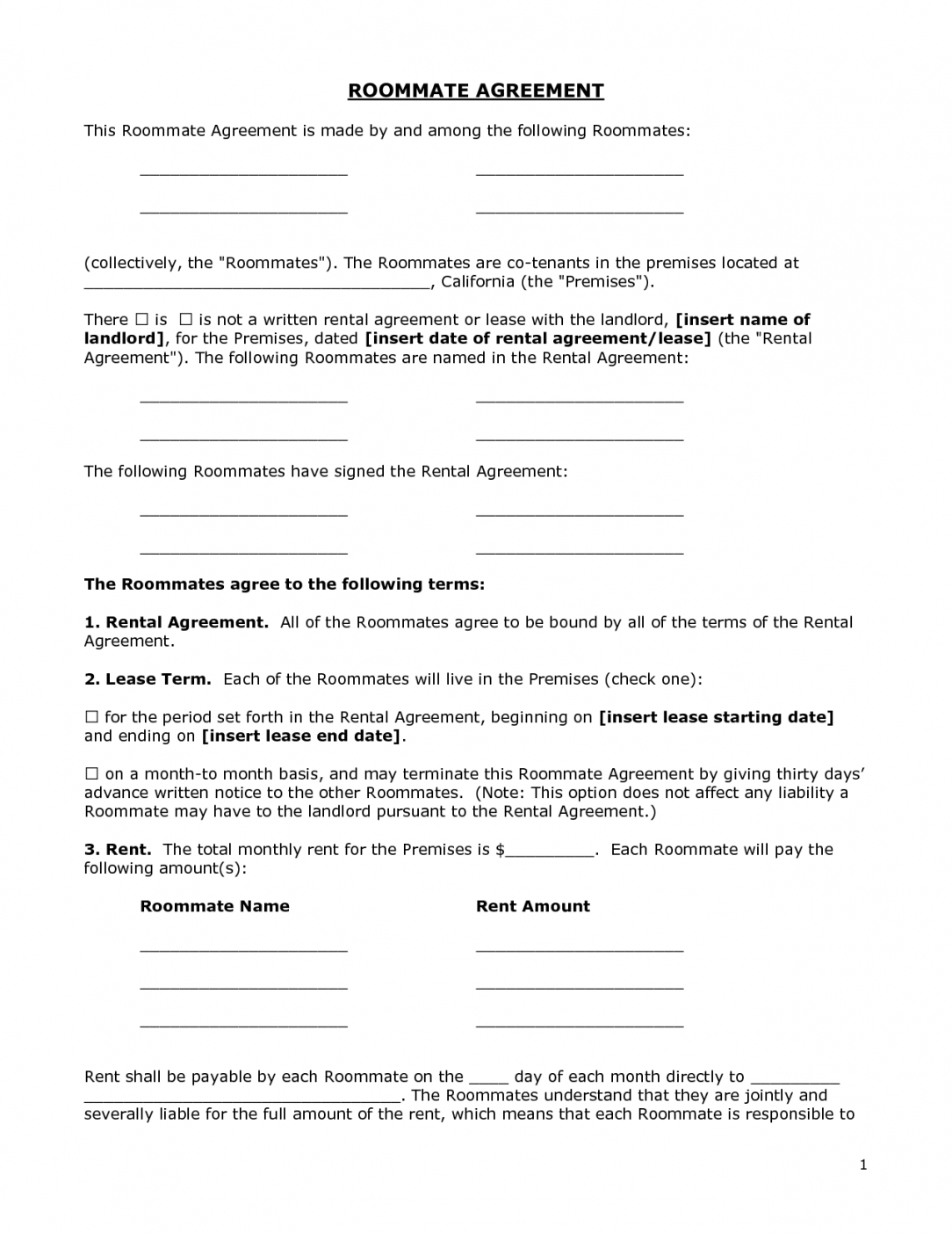 Renters Agreement Form – Doc By Bgf31721 – Roommate Agreement Free