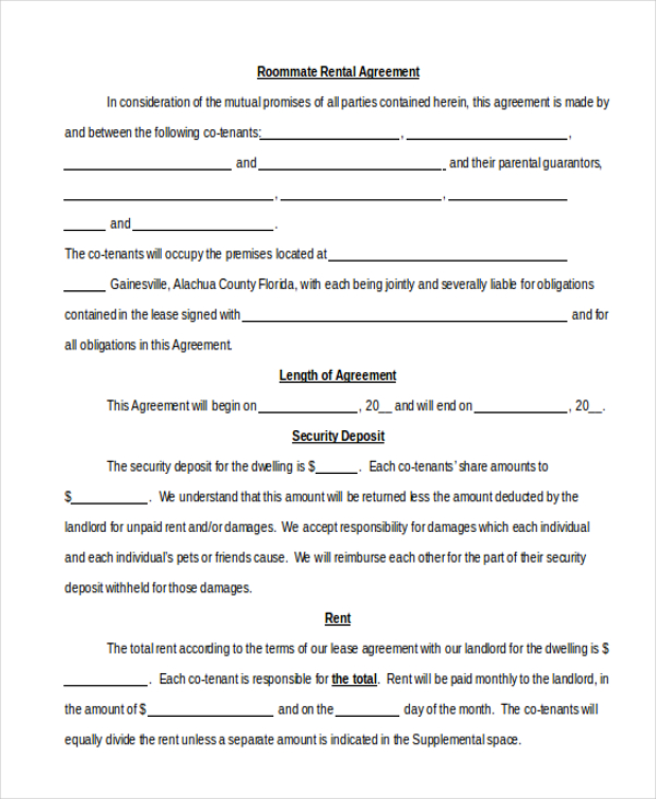 Sample Roommate Agreement Form 12+ Free Documents in Word, PDF