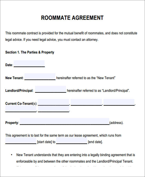 roommate rental agreement template Maggi.locustdesign.co