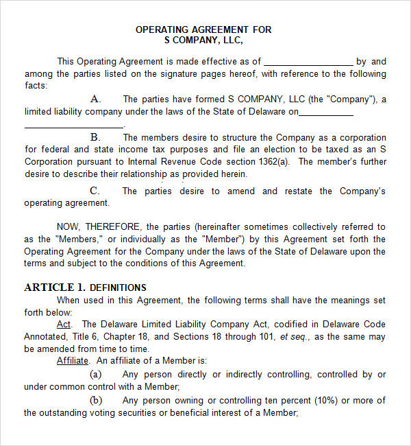 c corp operating agreement template s corp operating agreement
