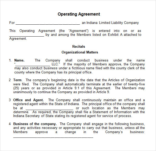 8 Sample Operating Agreement Templates to Download | Sample Templates