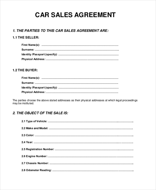 Sale Agreement Form For Car | The Best Snowboards
