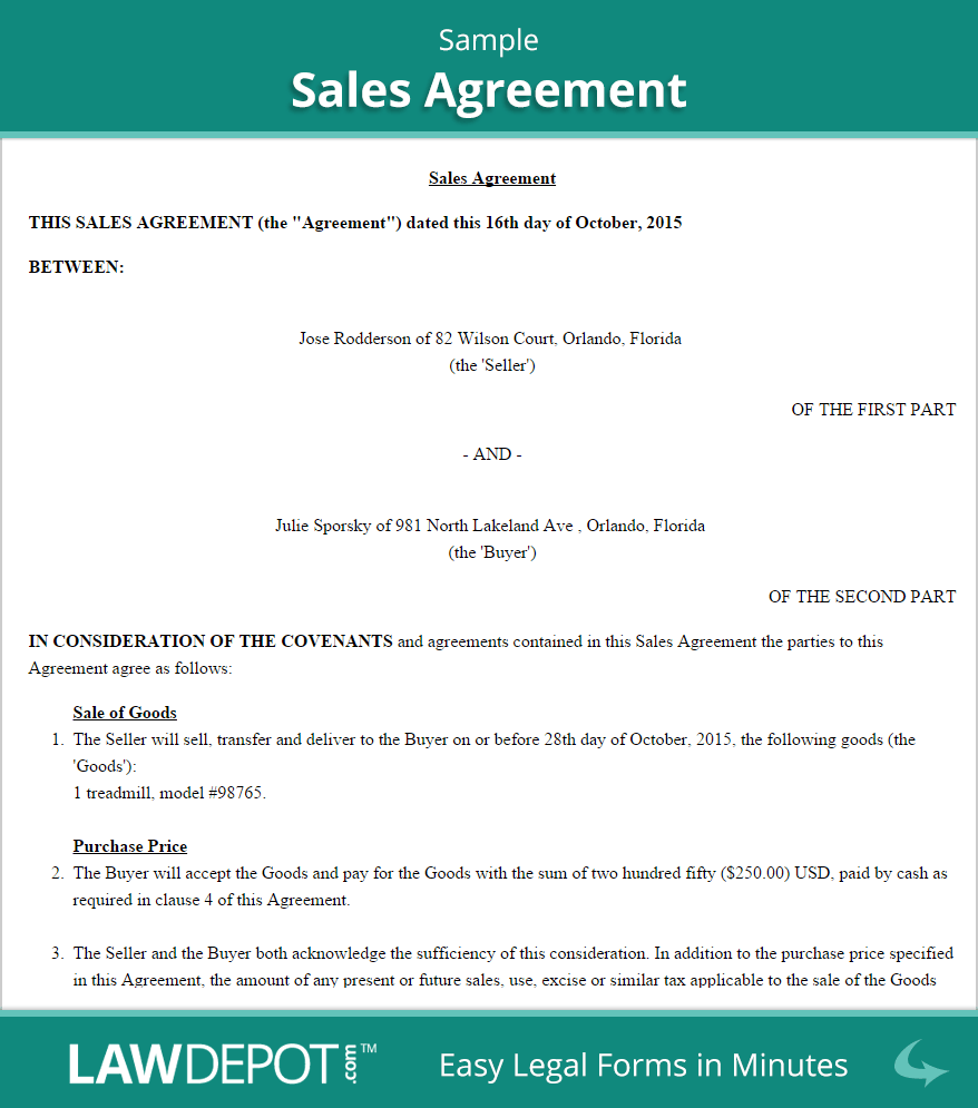 Sales Agreement Form | Free Sales Contract (US) | LawDepot