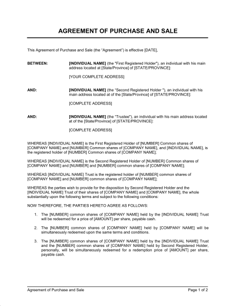 share purchase agreement template agreement of purchase and sale