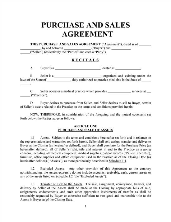 sales and purchase agreement template free free printable sale