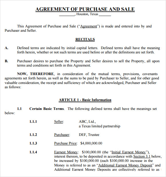 sales and purchase agreement template sale and purchase agreement