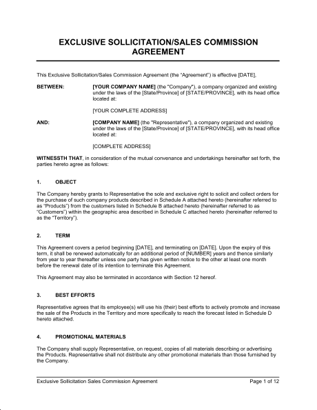 sales commission agreement template exclusive sollicitation sales
