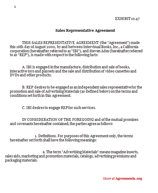 contract packaging agreement sales representative agreement