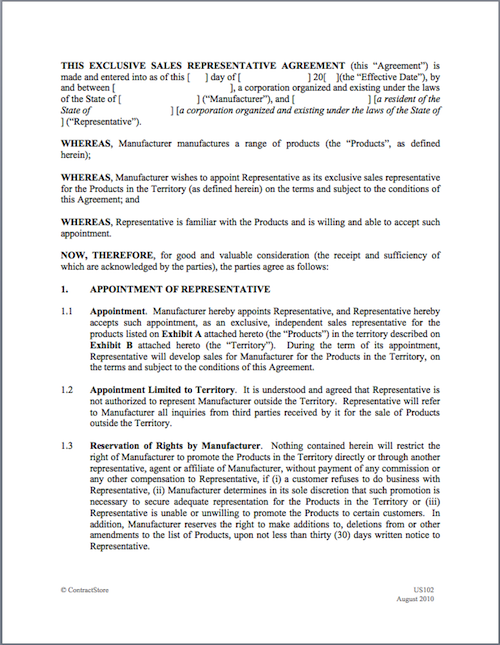 Advertising Sales Representation Agreement Template & Sample