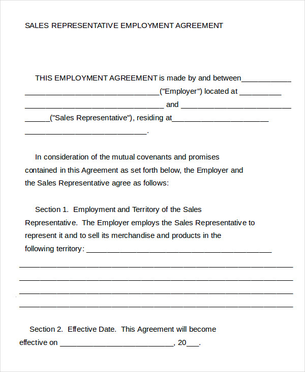 Sales Rep Agreement Template. sales agent contracts 4 5 3 contract