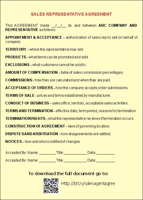 Sample Sales Representative Agreements Small Business Free Forms