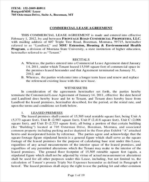 Business Lease Agreements Template Schreibercrimewatch.org