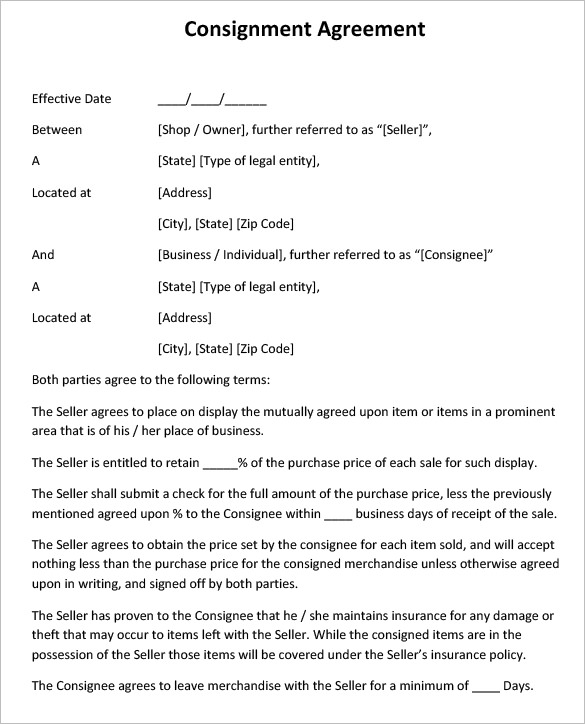 consignment sales agreement template consignment contract template