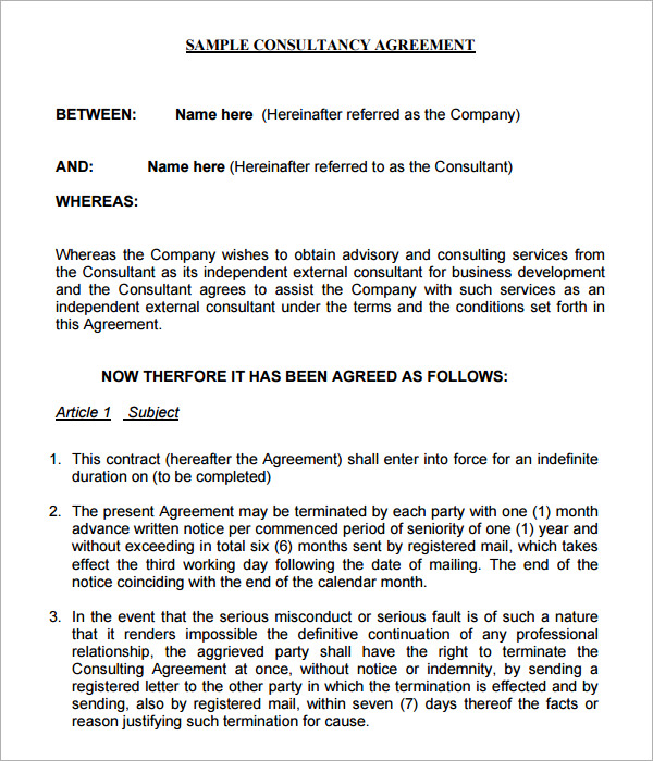 business consultant agreement template free business consulting
