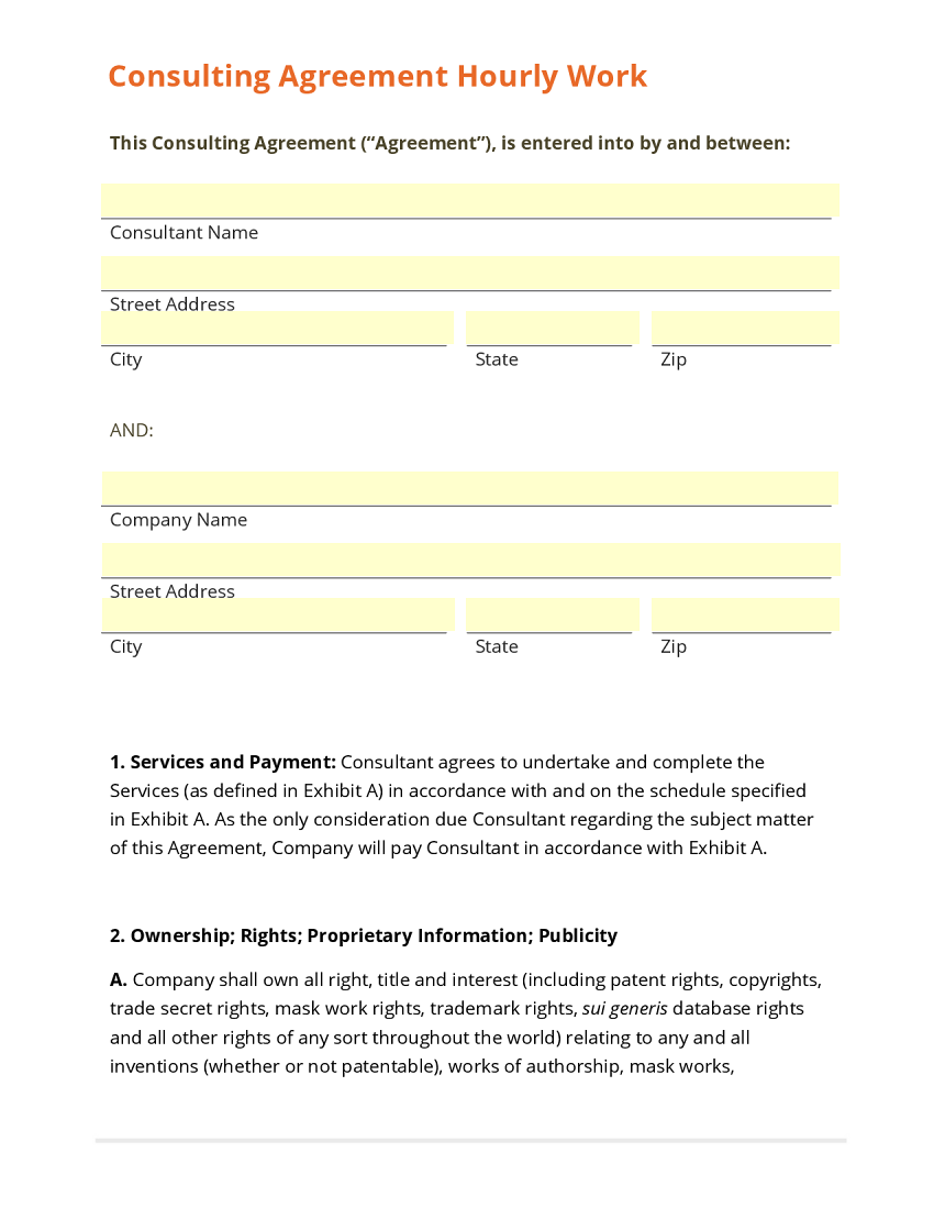 Sample Consulting Agreement Consulting Agreement Short Template
