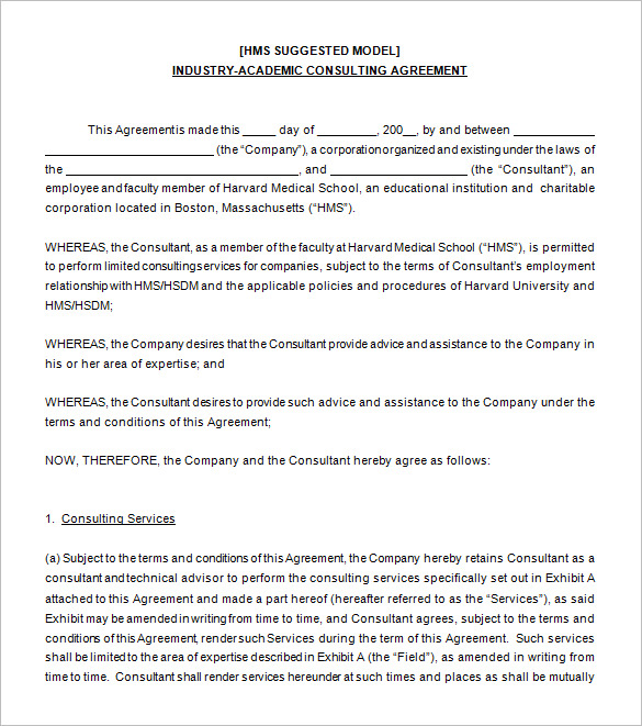 sample consulting agreement template 9 consulting contract