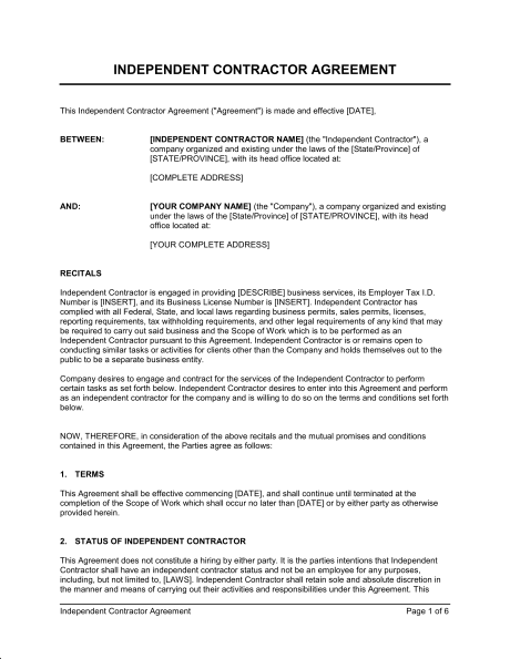 template for independent contractor agreement contractor contracts
