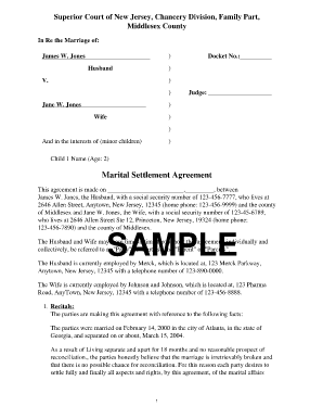 Settlement Divorce Agreement Samples