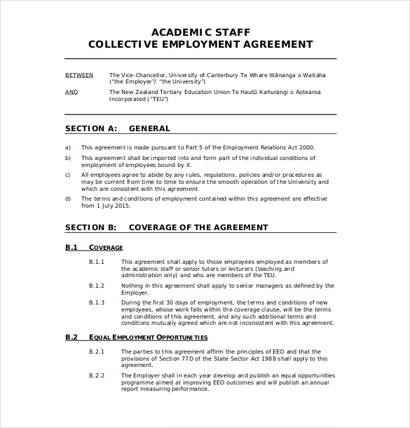 agreement template sample 19 employment agreement templates free