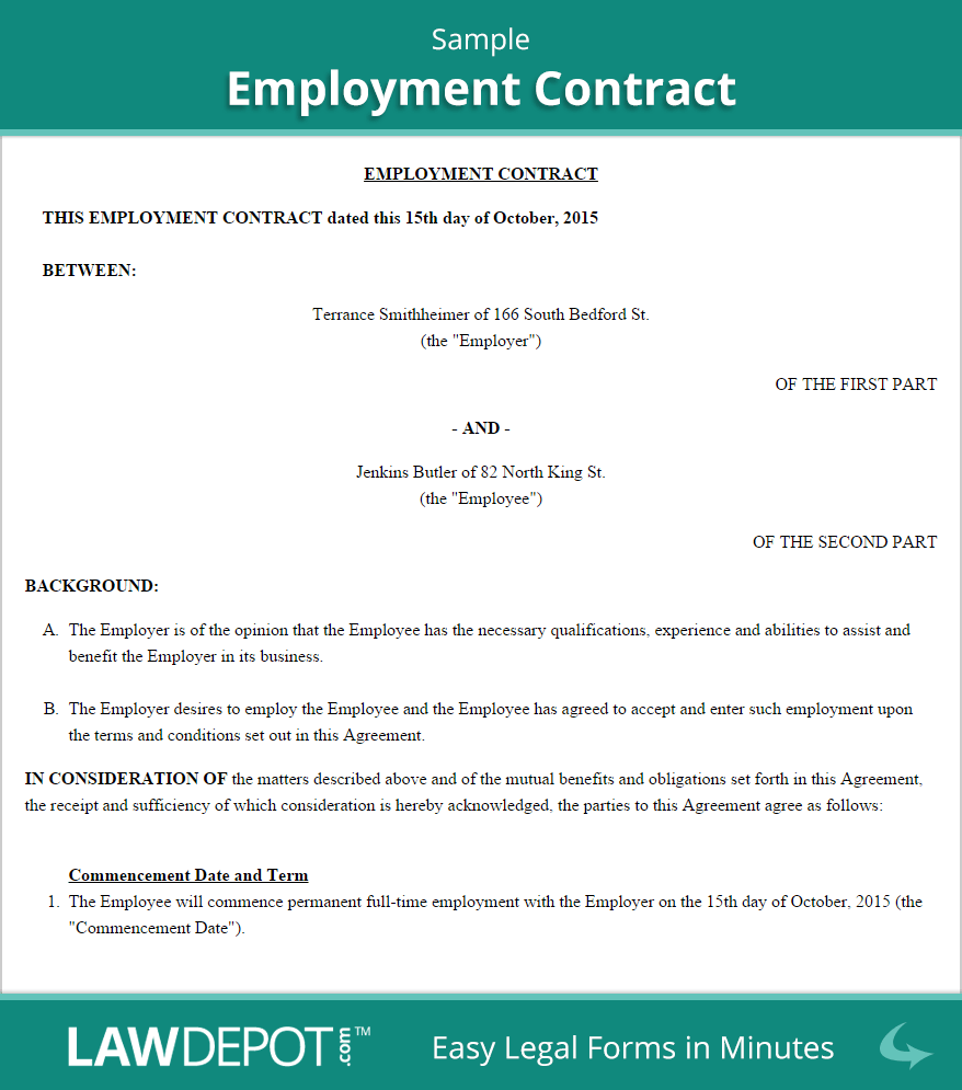 Employment Contract Template (US)| LawDepot