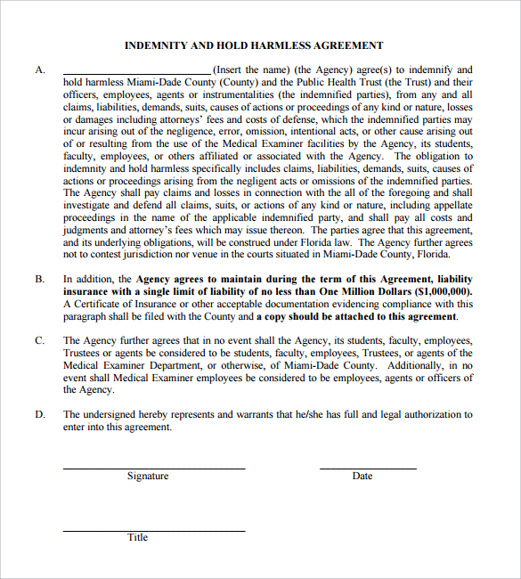 hold harmless agreement template free hold harmless agreement 30
