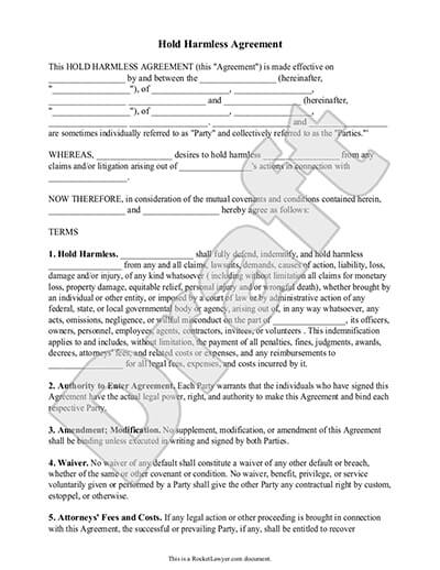 Hold Harmless Agreement Template and Definition | Rocket Lawyer