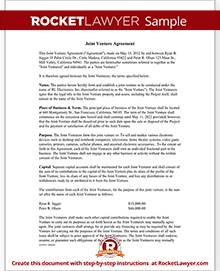 Joint Venture Agreement Template | Rocket Lawyer