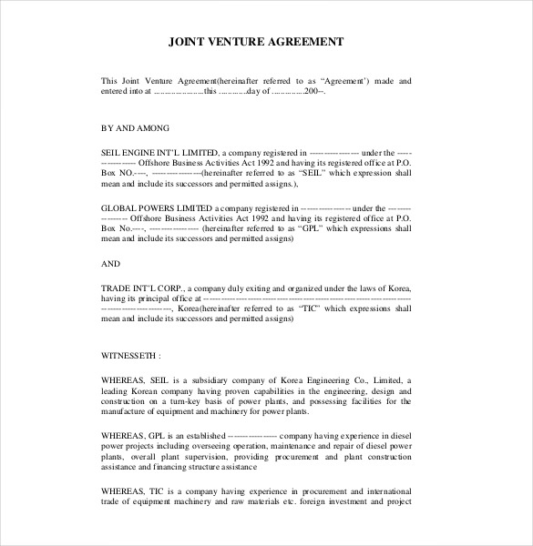 template joint venture agreement 10 joint venture agreement