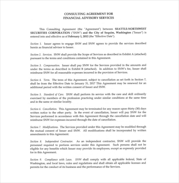 consulting agreement short template sample form biztreecom