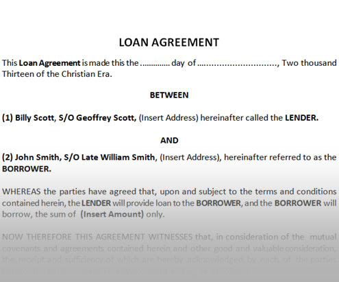 Loan Agreement Template Between Two Individuals Mikezitompc.com