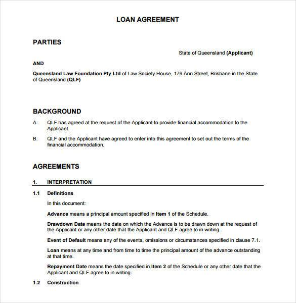 loan agreement template between two individuals loan agreement