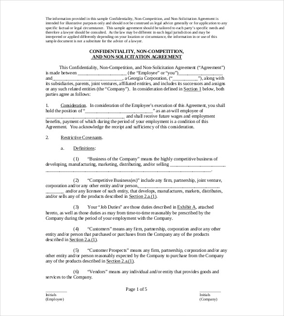 employee non compete agreement word template non compete agreement