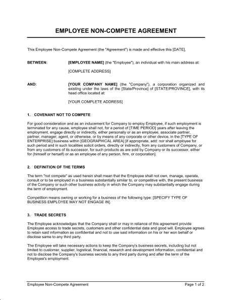 free employee non compete agreement template employee non compete