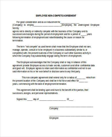 employee non compete agreement template employee non compete