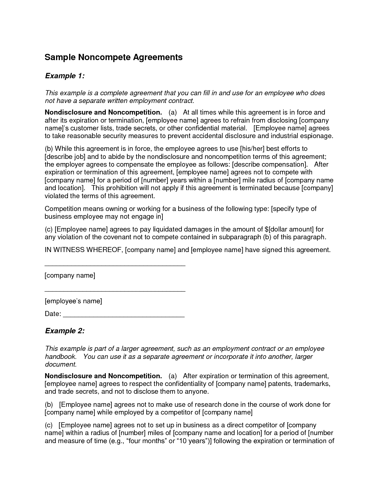 non compete agreement template Teacheng.us