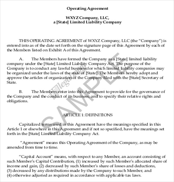 business operating agreement template 11 operating agreement