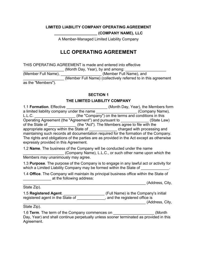 Multi Member LLC Operating Agreement Template | eForms – Free