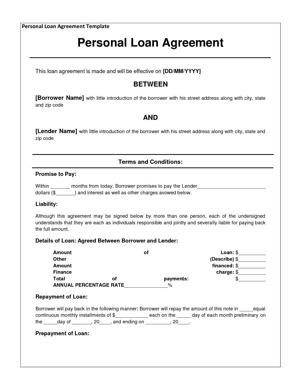 Printable Sample Personal Loan Agreement Form | Basic Template for