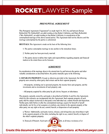 Prenuptial Agreement Form | Prenup Template | Rocket Lawyer