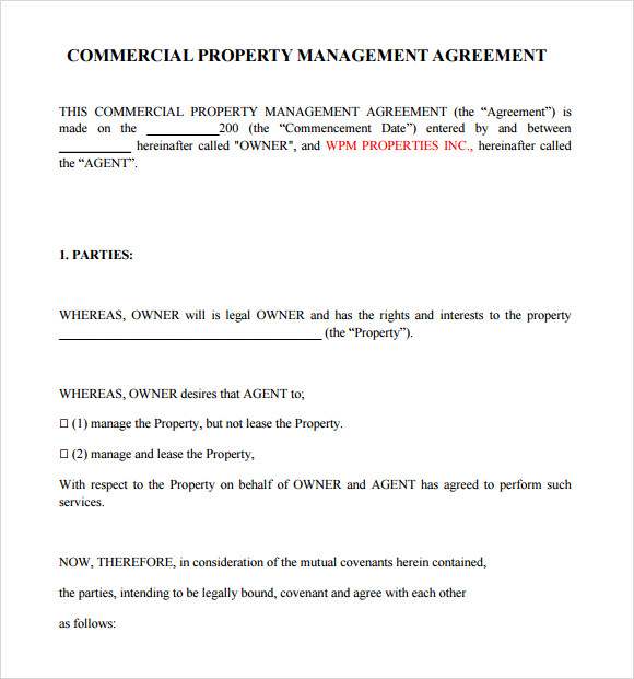 property management agreement template uk property management