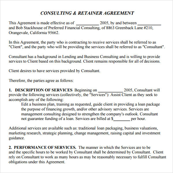consulting retainer agreement template retainer agreement 9