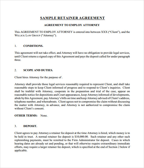retainer agreement template attorney retainer agreement template