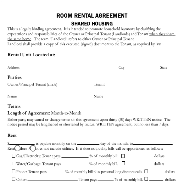 room rental agreement template word housing agreement template