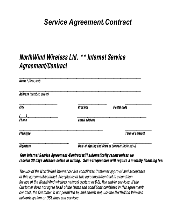 sample service agreement template sample service agreement