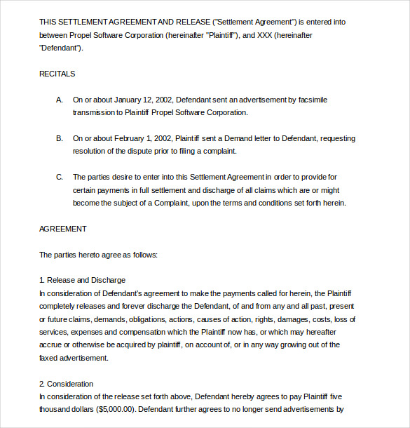 Settlement Agreement Template 16+ Free Word, PDF Document