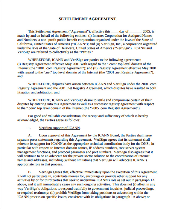 settlement agreement form Ecza.solinf.co