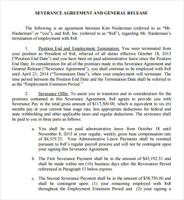 Sample Executive Severance Agreement