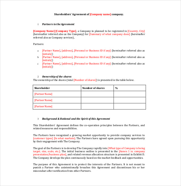 simple shareholders agreement template 13 shareholder agreement